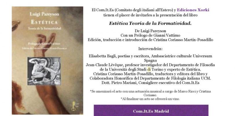 """PRESENTAZIONE DEL LIBRO DI LUIGI PAREYSON """"ESTETICA: TEORIA DELLA FORMATIVITÁ"""""""
