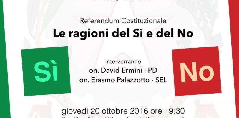 Referendum Costituzionale 2016 – Le ragioni del SI, le ragioni del NO a dibattito.
