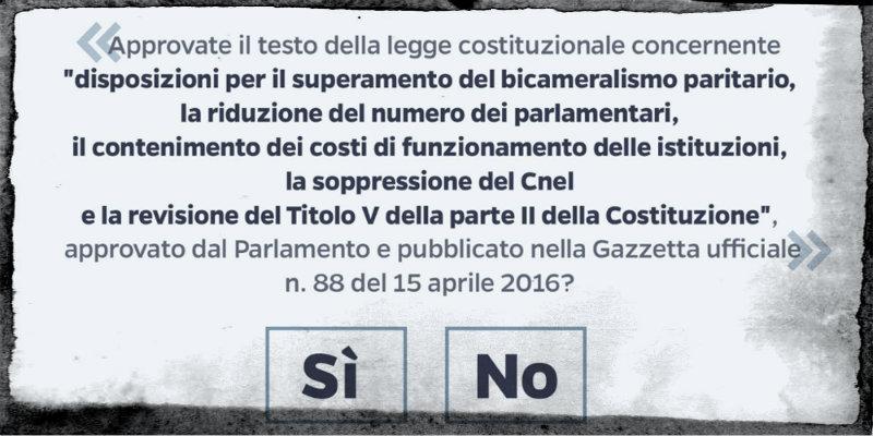 Referendum costituzionale al voto il 4 dicembre comites for Numero parlamentari italia