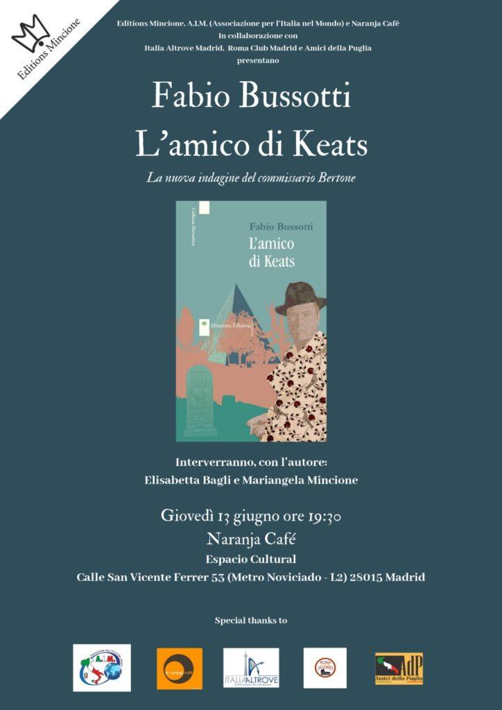 """Presentazione de """"L'amico di Keats"""" di Fabio Bussotti a Madrid"""