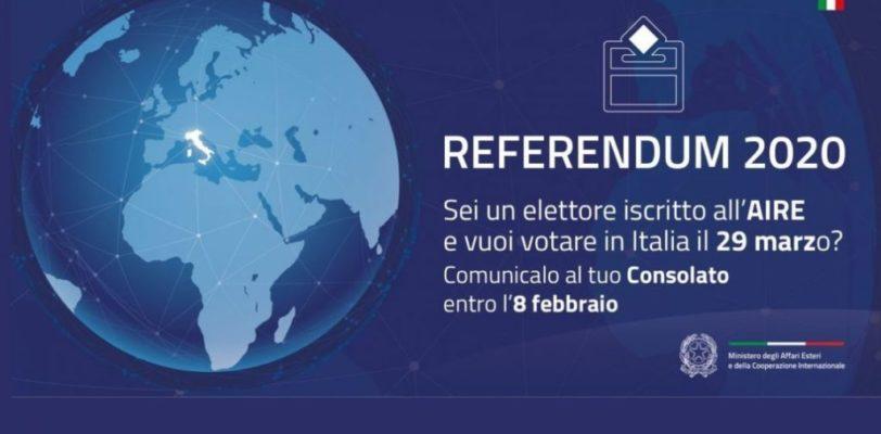 Referendum costituzionale del 29 marzo 2020 – L'opzione per votare in Italia entro 8 febbraio.