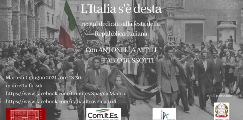 Festa della Repubblica. L'Italia s'é desta! Un recital a Madrid per celebrare l'anniversario